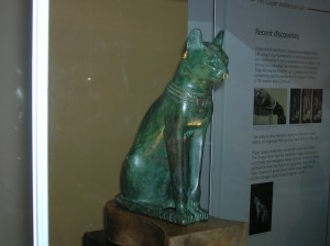 Ancient Egyptian cat statue on display at the British Museum