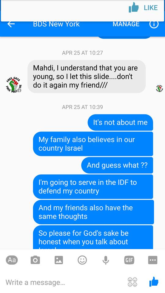 Mahdi has received threats from Hamas, the PA, BDS and even his own family. They have all failed to prevent him from speaking out against hate.