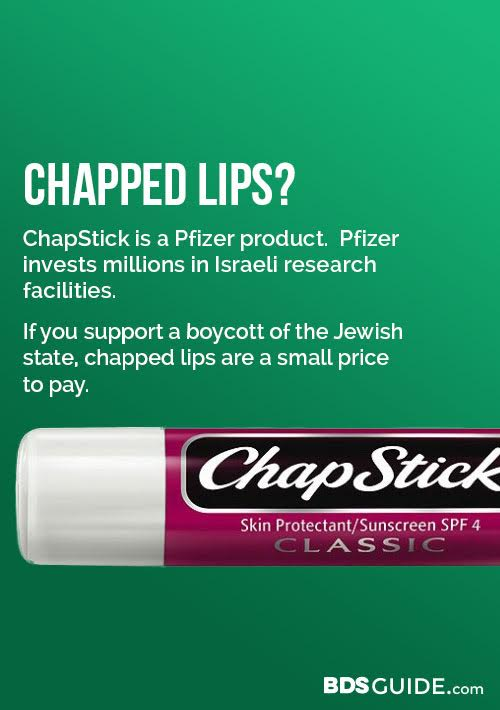 chapstick made by pfizer supports Israel